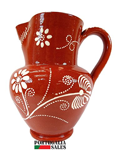 Portuguese Pottery Glazed Terracotta Hand Painted Wine Pitcher (9 Cups - 2.3 Litters) (Painted Hand Glazed)