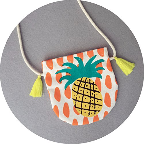 ZS Children Pineapple Canvas Satchel/ Baby Handmade Cloth Printing Cute Shoulder Bag Small Purse (Orange)