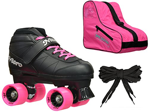 Epic Skates Epic Super Nitro Purple Quad Speed Roller Skates Package