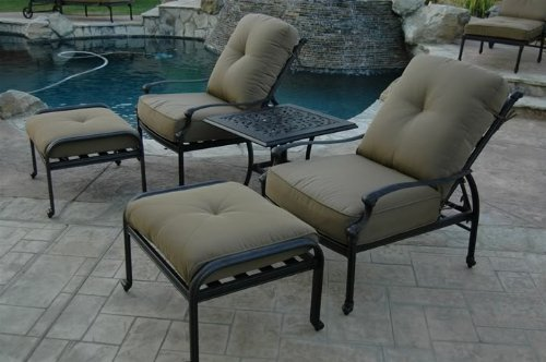 Elizabeth Outdoor Patio 5pc Adjustable Club Chairs Cast Aluminum, Walnut Cushions