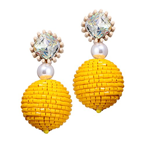 Yellow Ball Resin Pearl Earrings Bead Dangle Drop Earrings Rhinestone Boho long Statement Earrings Girl Woman