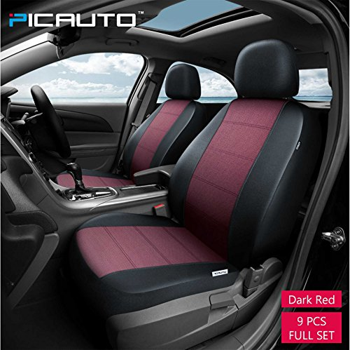 Black CAR PASS Universal PU Leather Car Seat Covers Front/&Rear Breathable for Car Truck SUV 9pcs