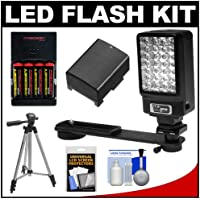 Power2000 Deluxe LED Digital Video Camcorder Light with Bracket Kit + BP-808 Battery + Tripod + Kit Canon VIXIA HF G10, S30, S200, S20, S21, S100, S10, S11, M400, M41, M40, M300, M30, M31, HF200, HF20, HF21, HG20, HG21, FS400, FS40, FS300, FS31, FS200, FS21, FS22
