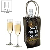 Hygge Lifestyle Wine Cooler Bag Champagne Bottle and Wine Chiller - Tequila/Vodka Carrier and Ice Bag Holder - Save Water Drink Champagne (Clear Black)
