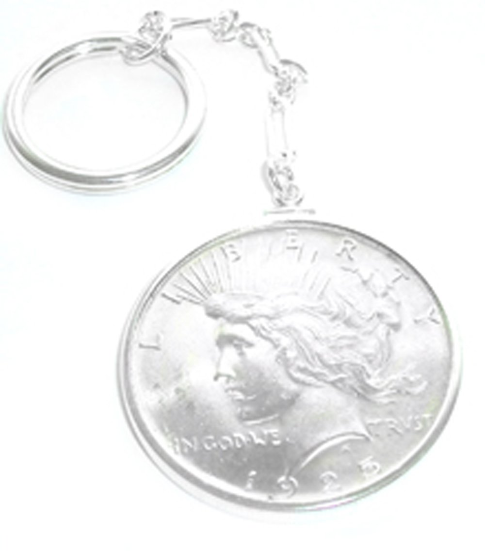 Sterling Silver Peace Silver Dollar Coin Edge Coin Bezel Key Chain With Coin