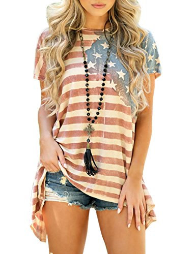 Striped Shirt Women Plus Size,Halife USA Flag Printed Summer Tunic Blouse XXL 2X