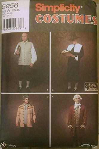 Simplicity Costumes, #5958, Sizes XS - XL, Men's, Pilgrim and Colonial Costumes