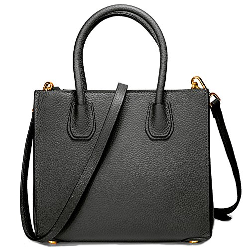Genuine Leather Handbags Top Handle Bags for Women Cowhide Satchel Purses - Black