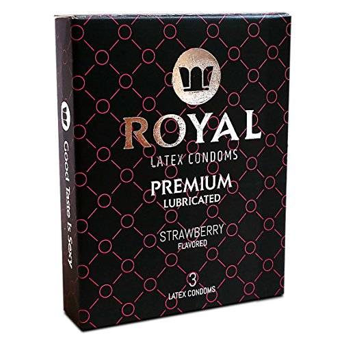 Flavored Condoms (Royal Premium Strawberry Flavored and Scented Condoms - Ultra Thin, Lubricated, High Quality Non-Toxic Latex and Odor Free for Long Lasting Pleasure and Performance, 3 Count)