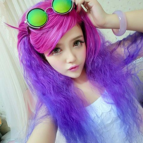 [Jooyi 75cm 30'' Long Curly Fluffy Wave Lace Front Purple Mixed Blue Wigs Heat Friendly Cosplay Party Costume Hair] (Lavender Marie Antoinette Wig)