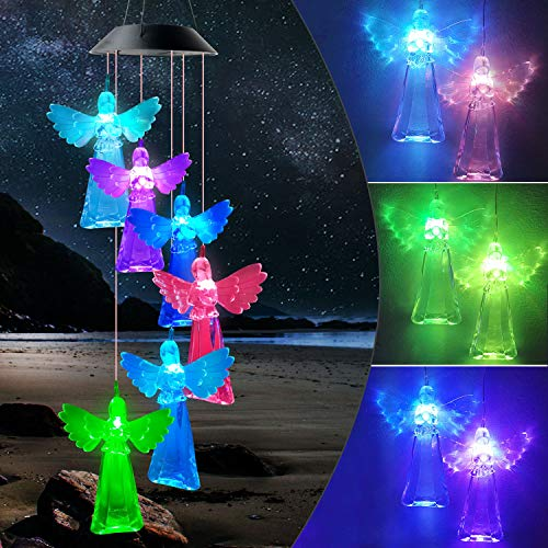 JOBOSI Angel Wind Chimes, Gifts for mom, Garden Gifts, Wind Chimes Outdoor, Chime Outside, Solar Wind Chimes, Gifts for mom Grandma Family