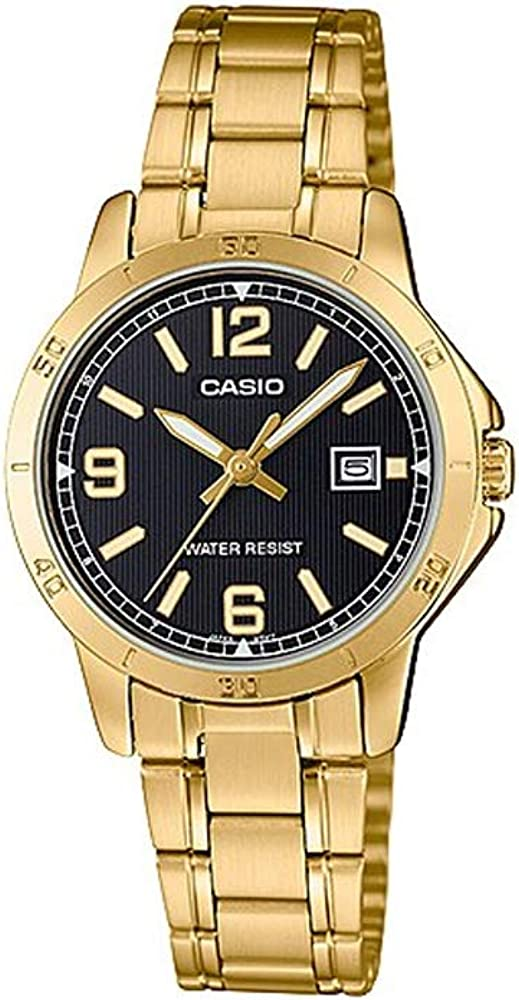 Casio LTP-V004G-1B - Reloj de Vestir para Mujer (Acero Inoxidable, Esfera Negra, Esfera Negra)