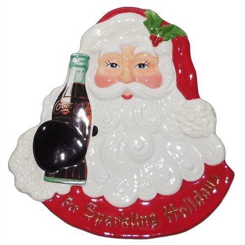 Radko COCA COLA SANTA ceramic Snack Plate Christmas Christopher Radko Christmas Plates