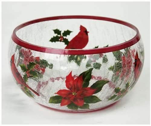 Hand Painted Crackle Glass - Heaven & Nature Sing Hand painted Crackle Glass Bowl