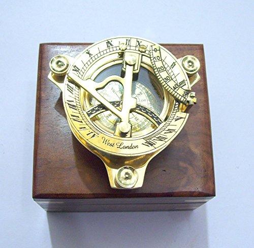 Royal Victorian Export 3'' Captain Brass Sundial Compass with Hardwood Wooden Box (Design 2)