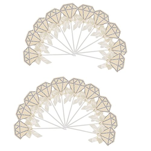 HotGlows 20Pack Beige Glitter Diamond Cake Topper Cupcake Picks for Wedding Bridal Shower Decoration