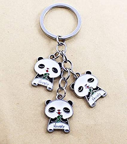Chinese Panda Keychains Creative Novelty Gifts Panda Metal Hanging Key Ring Key Chain Keyfob