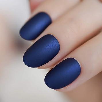 EchiQ L5040 - Uñas postizas de color azul mate con línea ...