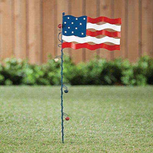 Grace Home Metal Rustic American Glory Flying Flag Stake 4th