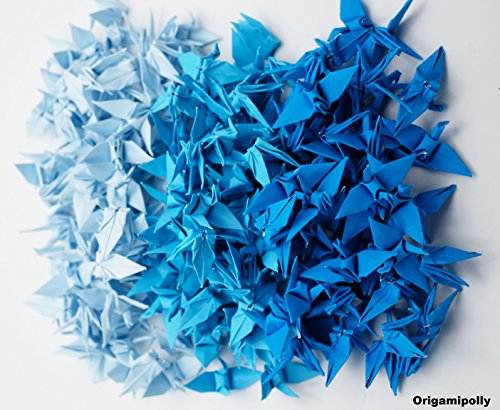 - 1000 Origami paper cranes Blue Tone 1.5 inch Finished Origami for Wedding Gift, decorate, backdrop wedding