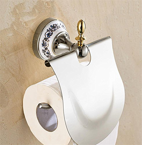 FLYSXP Blue and White Porcelain Stainless Steel Tissue Holder Toilet Toilet Paper Holder Toilet Paper Holder (Color : Silver)