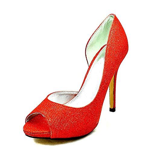 Señoras glitter cubiertos alto talón uno zapatos lados partido purpurina roja