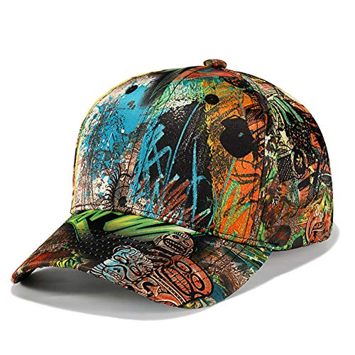DOCILA Graffiti Skulls Snapback Caps Curved Brim Baseball Hats for Men (Yellow Green)