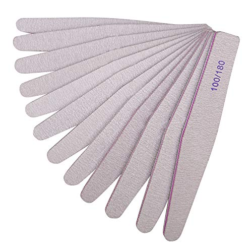 BallHull 12PCS Nail Files Double Sided Emery Board Grit 100 180 Grit Nail File apply Manicure Pedicure.