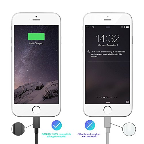 GANJOY iPhone Charger 3Pack 3FT/6FT/10FT(1M/2M/3M) 8 pin Charging Cables USB Charger Cord, Compatible with iPhone X, 8, 8 Plus, 7, 7 Plus, 6s, 6s Plus, 6, 6 Plus, SE, 5s, iPad and iPod (White)
