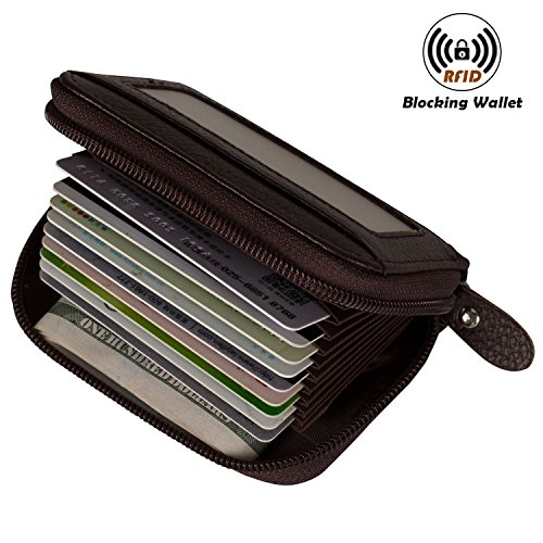 Accordion Purse (Noedy RFID Blocking Credit Card Holder Compact Wallet Genuine Leather Accordion Purse For Women & Men Coffee)
