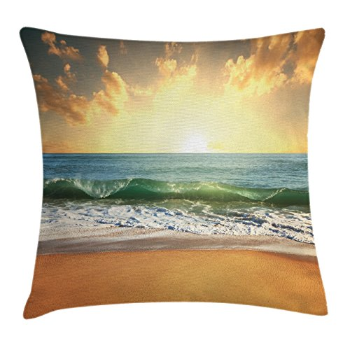 Bubble Chair Club (Lunarable Ocean Throw Pillow Cushion Cover, Sunset at Smooth Sandy Beach With Small Wave and Bubbles From the Sea Picture, Decorative Accent Pillow Case, 26 W X 16 L Inches, Apricot and Blue)