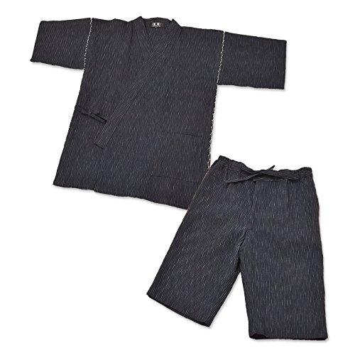 IKISUGATA Men's Jinbei Omi Chijimi Summertime Casual Wear Kasuriori Medium Dark Navy by IKISUGATA