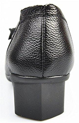 Cunzhai Donna Slip In Vera Pelle Su Punta Tacco Basso Pompe Grosso Stile 1-nero