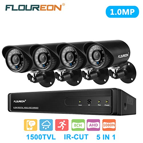 (floureon 8 CH House Camera System DVR 1080N AHD + 4 Outdoor/Indoor Bullet Home Security Cameras 1500TVL 720P 1.0MP AHD Resolution Night Version for House/Apartment/Office)