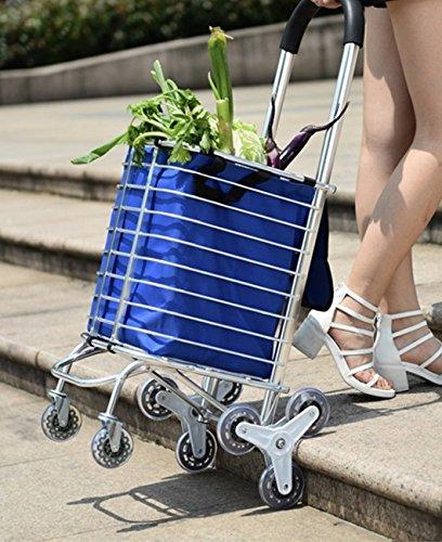 しろい手 折畳式アルミポータブルショッピングカート 買い物に便利 三連型後輪で階段もラクラク B078PZ5J97