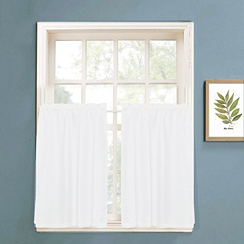 Waffle Woven Textured Short Curtains fir Kitchen Water Repellent Window Covering for Bathroom (72