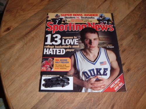 Sporting News magazine, February 10, 2006-J.J. Redick-Duke Basketball Star and Super Bowl Insider:Steelers vs. Seahawks.