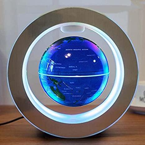 Amazon floating globe with colored led lights o shape anti floating globe with colored led lights o shape anti gravity magnetic levitation rotating world map for gumiabroncs Gallery