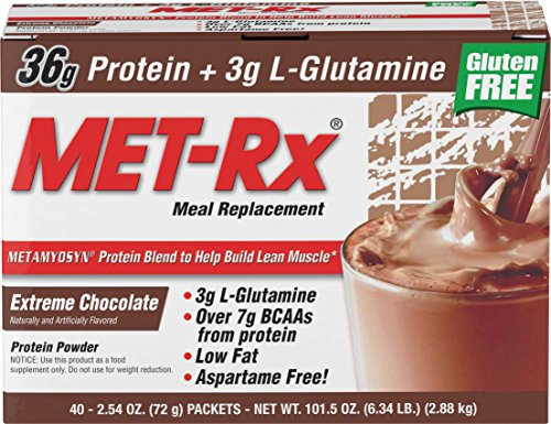 MET-Rx Original Whey Protein Powder, Great for Meal Replacement Shakes, Low Carb, Gluten Free, Extreme Chocolate, 2.54 oz. Packets, 40 Count