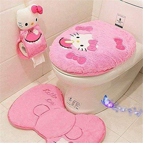 Eliphs 4PCS Hello Kitty Bathroom Set Toilet Cover WC Seat Cover Bath Mat Holder Pink/Rose Red (Pink) by Eliphs
