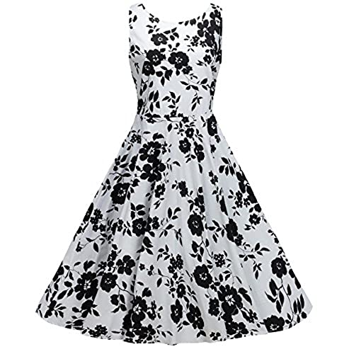 Black and white floral dress amazon ninewe womens vintage 1950s style sleeveless black lace flare a line dress white flower 2xl mightylinksfo