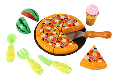 Pizza Kitchen Play Food Set for Kids with 6 Pizza Slices and Ice Cream
