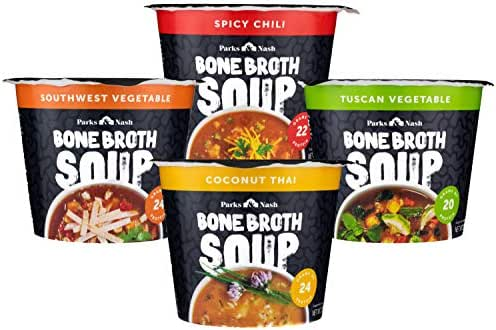 Parks & Nash Bone Broth Soup Variety Pack, All Natural 20g+ Protein Packed Instant Soup Includes 1 Spicy Chili, 1 Southwest Vegetable, 1 Coconut Thai, and 1 Tuscan Vegetable, (Variety Pack, Pack - 4)