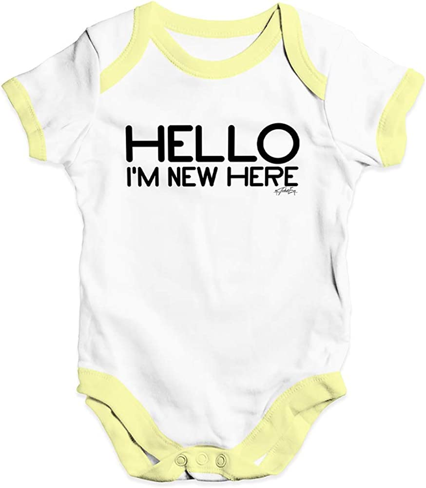 TWISTED ENVY Bodysuit Baby Romper Hello Im New Here