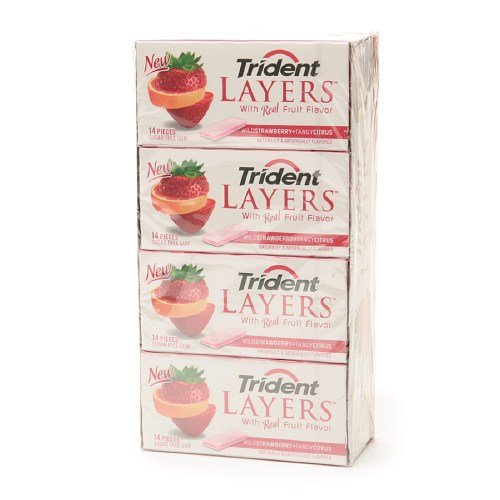 Trident Layers Sugar Free Gum 12-Pack, Wild Strawberry + Tangy Citrus 168 pieces by Trident