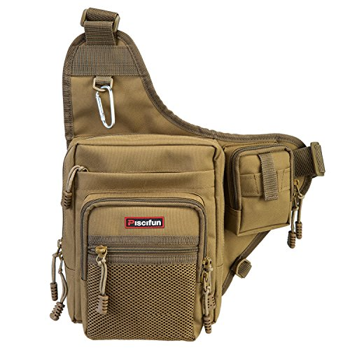 Tackle Pack - Piscifun Sports Shoulder Bag Fishing Tackle Bag Crossbody Messenger Sling Bags (Khaki)