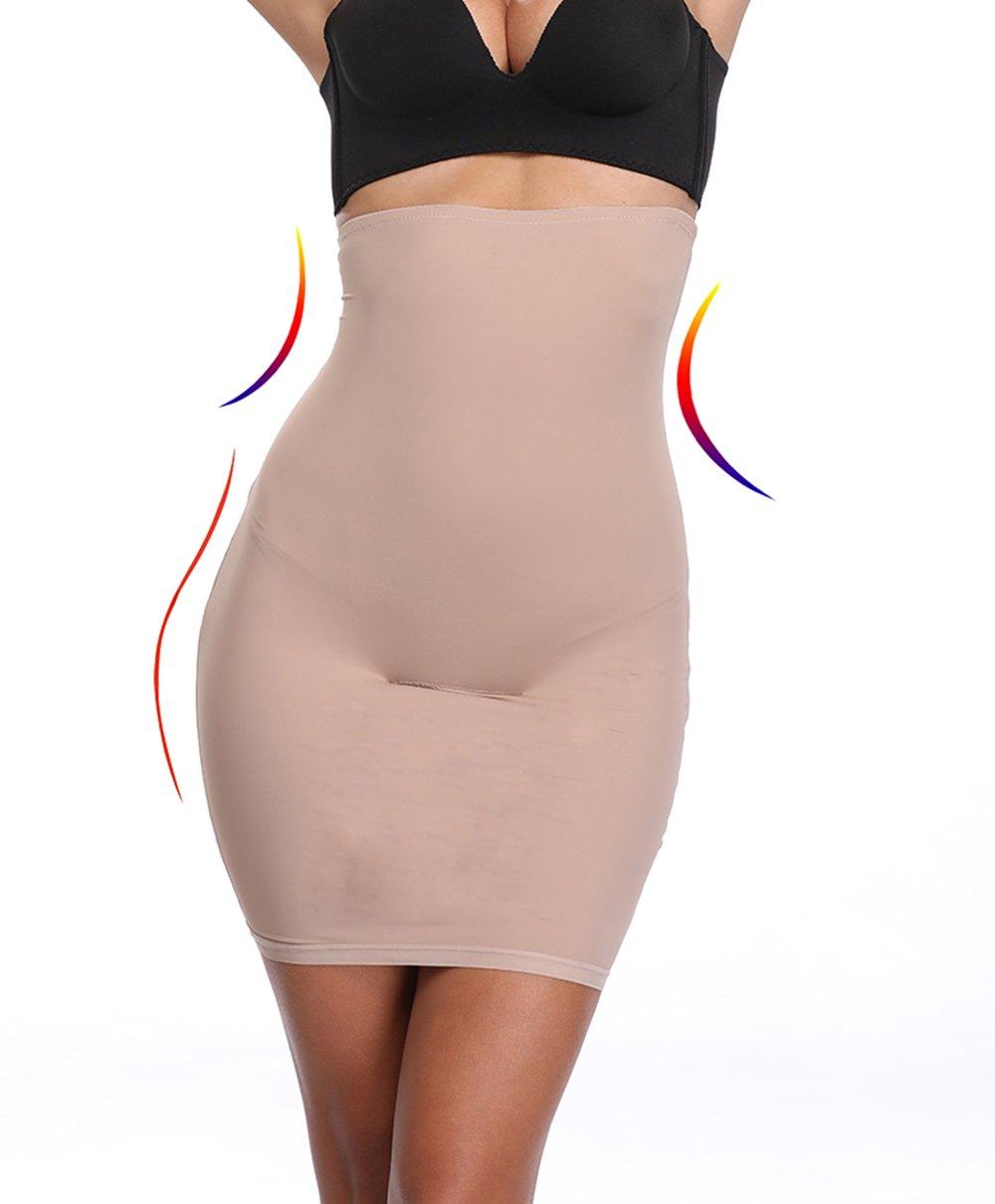 Half Slips for Women Under Dress Butt Lift Shapewear Tummy Control Waist Trainer Body Shaper(Beige,L)