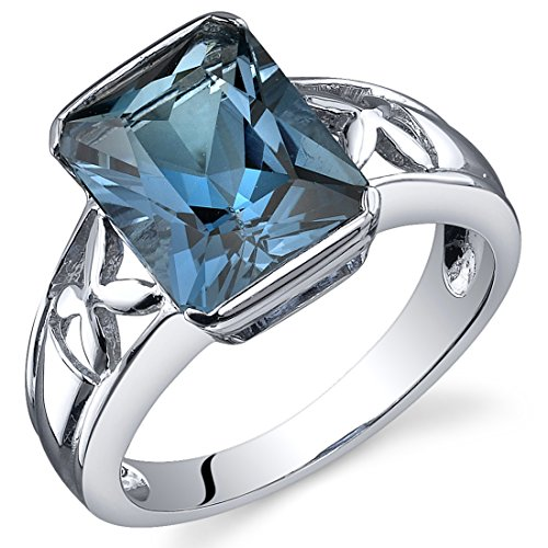 Radiant Ring Topaz Blue (London Blue Topaz 3.50 Carats Ring Sterling Silver Rhodium Nickel Finish Radiant Cut Size 5)