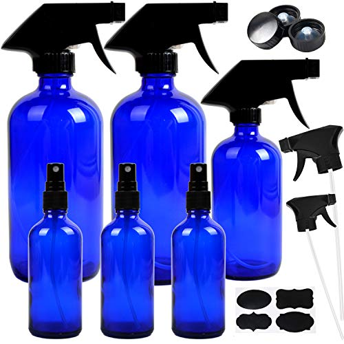 - 6 Pack Empty Cobalt Blue Glass Spray Bottles Refillable Containers, 16oz 8oz 4oz Spray Bottles for Essential Oils, Cleaning Products, Aromatherapy, Durable Black Trigger Sprayer Fine Mist and Stream