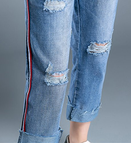 Jeans Taglia Buco Blu Larghi Baggy Grossa Stile Donne Icegrey Denim Pantaloni Strappati Fidanzato fFxwAAgEq